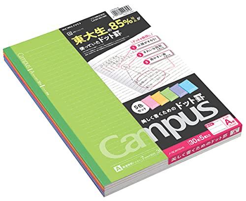 Kokuyo Campus 3CATNX5 notitieblok, half B5, A-gelinieerd, 7 mm, 30 pagina's, 5 omslag kleuren