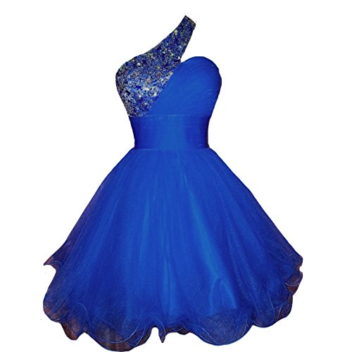 Kivary Women's Short One Shoulder Beaded Crystals Tulle Prom Homecoming Dresses Royal Blue US 10 (Apparel)