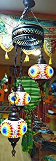 Lámpara Turca para techo tres bolas grandes de 18 cm de diámetro - 1 m altura - cristales y metal