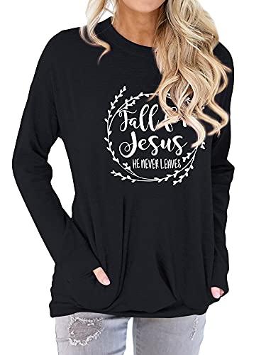 Nlife Women Fall for Jesus He Never Leaves Crew Neck Long Sleeve Pocket T-Shirt Black