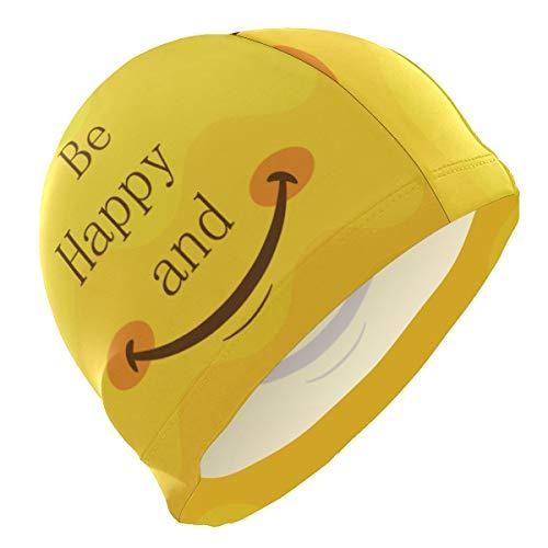 ALINLO Gorro de natación Alino con Texto en inglés «Be Happy and Smile», Impermeable, para Adultos, Hombres, jóvenes y niños