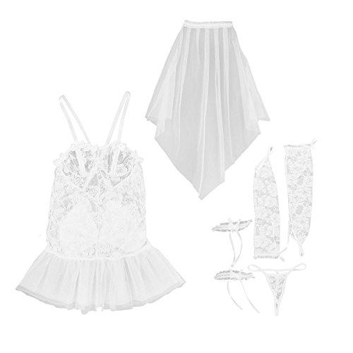 CHICTRY Picardias Mujer Disfraces de Novia Bride Mini Vestido Encaje Sexy Ropa de Dormir Lencería Cosplay Conjunto Transparente Blanco Talla única