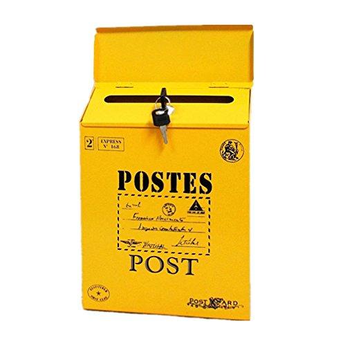 TentHome Briefkasten Postkasten Antik-Look Briefkastenanlage Mailbox Wandbriefkasten Zeitungsfach farbiger Letterbox Zeitungskasten mit klappe (Gelb 1)