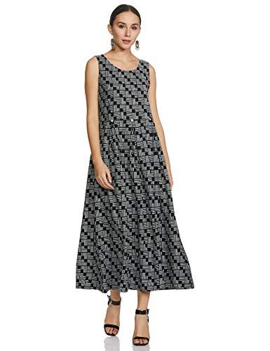 Indigo Women's Rayon a-line midi Dress (AW20/IND-1465_Black_S)