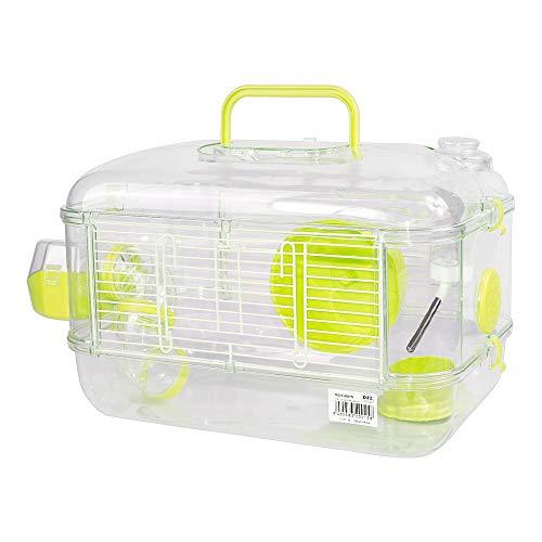 Jaulas para Hamster de plástico Duro, Jaula de Hamster S Jaula Hamster caseta Bebedero comedero Rueda Todo Incluido 40 * 26 * 26cm (1 Piso, Verde)