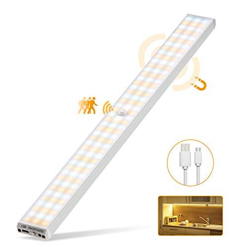 132 LED Luz Armario, 3 Modos Luz para Armario con 2500mAh USB...