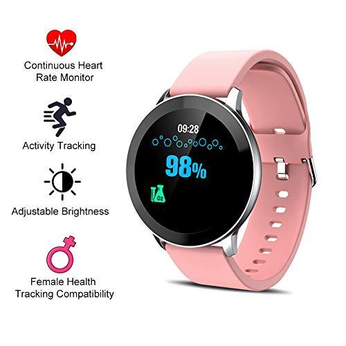 Sock Fitness Armband Mit Blutdruck Messgeräte Herzfrequenzmesser Temperaturmessung Schlafmonitor,Voll-Touchscreen Wasserdicht Aktivitätstracker Kompatibel Ios Und Android,Rosa