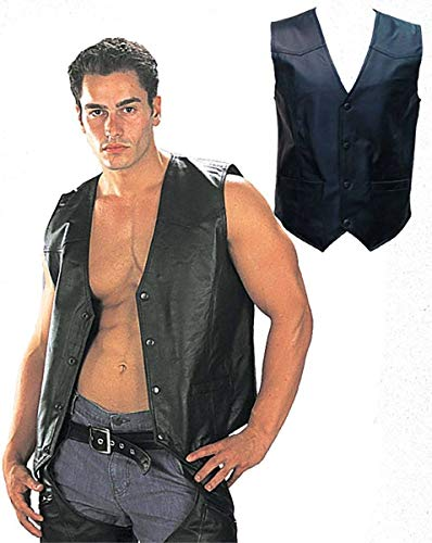 USA Leather 201 Black Classic Leather Vest with Snap Button Closure - Large