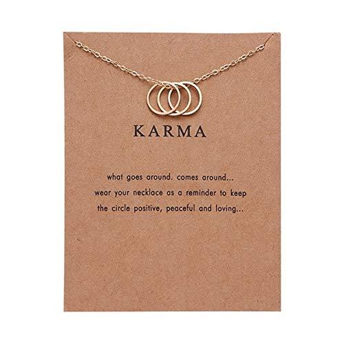 Gugutogo Moda Karma Paper Card Tres Anillos Collares