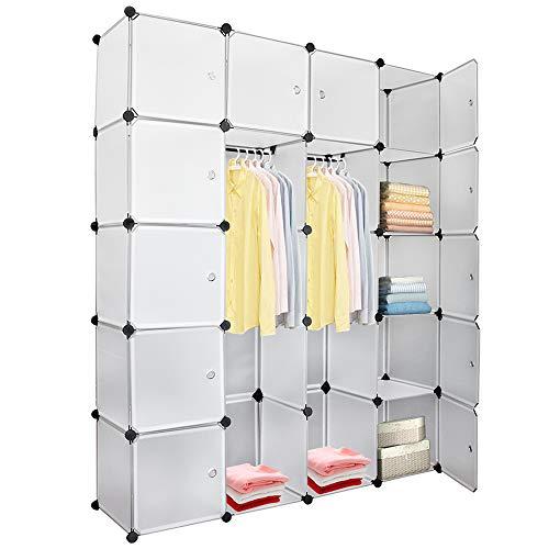 Hengda 20 cubi fai da te per guardaroba, guardaroba, in plastica, con ante e ante bianco, 180 x 142 x 37 cm
