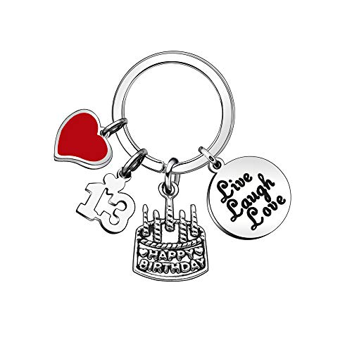 Women Men Birthday Gift Lettering Key Chain Ring Charms for 10th 13th 16th 18th 21st 30th 40th 50th 60th (13th)