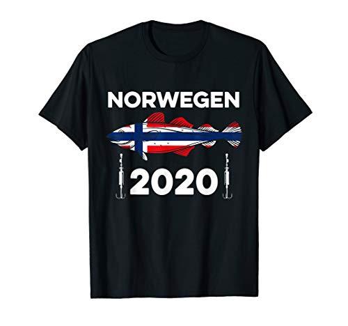 Angel Tour Norwegen 2020 Flagge Dorsch Angelhaken Angeln T-Shirt
