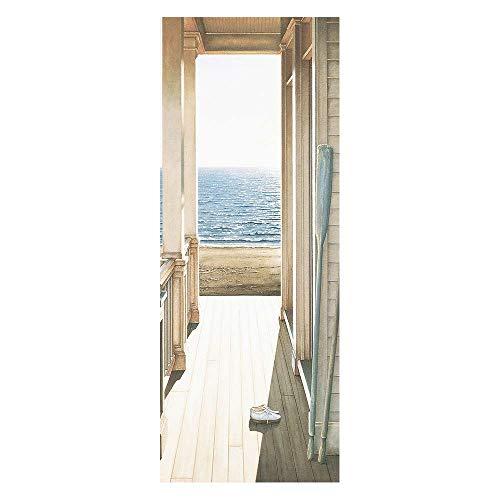 KEXIU 3D Pasillo con vista al mar PVC fotografía adhesivo vinilo puerta pegatina cocina baño decoración mural 77x200cm