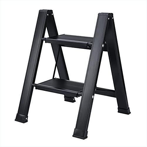 Synlyn Escalera plegable ligera de aluminio de seguridad doméstica, portátil, 2 peldaños, resistente hasta 150 kg, antideslizante, para el hogar, la oficina (negro)