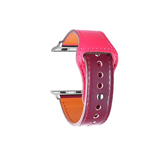 Cailin Kompatibel mit appleiWatch Armband 38mm 42mm 40mm 44mm, Echtleder Uhrenarmband Ersatz für Watch Series6/SE/Series5 Series 4, Series 3, Series 2, Series 1 (42mm/44mm, Bordeaux/Rose)