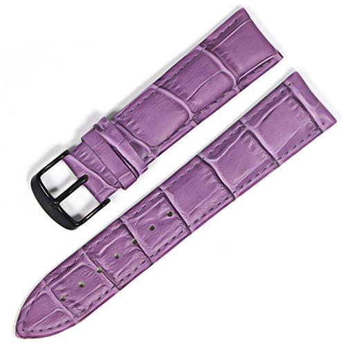 LIANYG Correa De Reloj Banda de Reloj Correas de Cuero Genuino Relojes 12 mm 18 mm 20 mm 22mm de Reloj Accesorios 493 (Band Color : Purple Black, Band Width : 12mm)