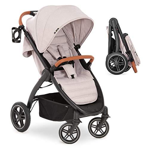 Hauck Silla de paseo bebe UpTown con respaldo reclinable y manillar regulable en altura - Sillita de paseo ligera y compacta, plegado con una mano y portavasos, hasta 25 kg - beige