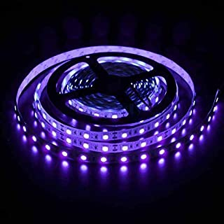 LED Black Light Strip USB Operated 2M/6.6ft 5V 120 SMD5050 Real Purple LEDs 395nm-405nm Blacklight for for Fluorescent, 3D...