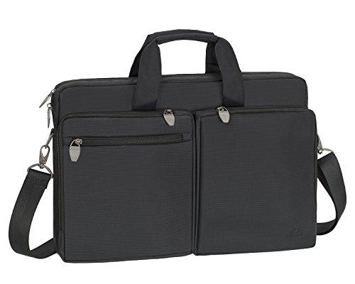 Rivacase Laptoptasche bis 17,3 Zoll - Hochwertige Notenbookasche mit zwei externen Fächern, waaserfestem Gewebe & eigenentwickelten Metallzippern / 8550 Schwarz
