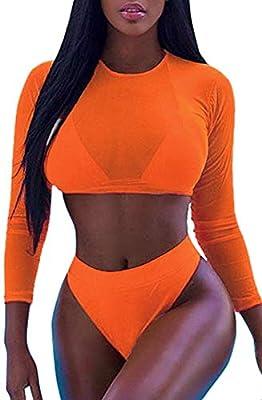 Kisscynest Women's Halter High Neck Cut-Out Straps Three Pieces Long-Sleeved Mesh Swimsuit Orange XL