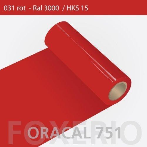 Orafol - Oracal 751 - 31cm Rolle - 5m (Laufmeter) - Rot / hochglänzend, A170oracal - 751 - 5m - 31cm - 04 - Rot - Autofolie / Möbelfolie / Küchenfolie