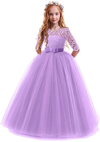 Toddler Girl's Embroidery Tulle Lace Maxi Flower Girl Wedding Bridesmaid Dress 3/4 Sleeve Long A Line Pageant Formal Prom Dance Evening Gowns Casual Holiday Party Dress Light Purple 11-12