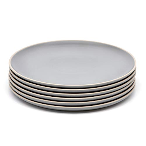 Dinner Plates, Ceramic Make, by Kook, Cloudy Gray, Satin finish, 10 inch, Set of 6
