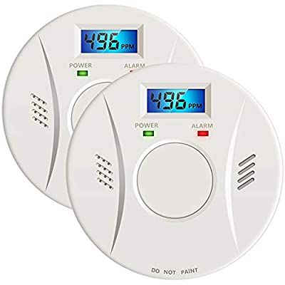 2 Pack Combination Smoke and Carbon Monoxide Detector Alarm Battery Operated Digital Display for Travel Home Bedroom and Kitchen