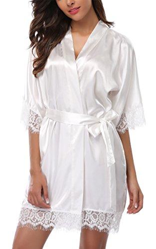 Giova Women's Lace Trim Kimono Robe Nightwear Nightgown Sleepwear Satin Short Robe Cream White Small