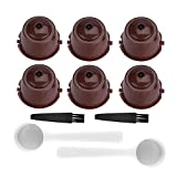 Pawaca 6 Pcs Capsules Rechargeables à Cafe Compatibles avec Les Machines Nescafe Dolce Gusto comme Mini Me, Piccolo, Genio Esperta, Circolo avec 2 Cuillere à Cafe et 2 Brosse