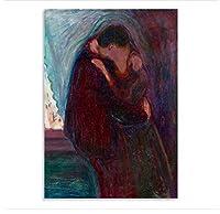 ノルウェーの表現主義画家エドヴァルド・ムンクの作品キスアートワーク絵画プリントキャンバス室内装飾-50X75Cmフレームなし