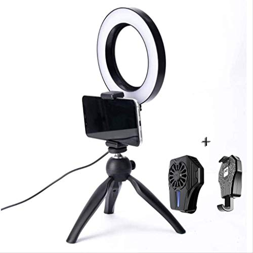AJH Led Ring Light with Stand and Phone Holder, Phone USB Cooler (Mobile Phone Radiator) USB Powered and USB Controller Button