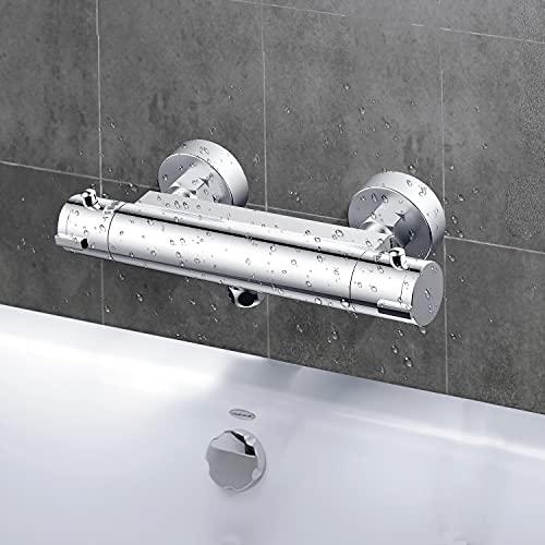 Grifo Ducha Termostático, Termostato de ducha con el Botón de Seguridad 38 ℃, VENTCY Mezclador Termostático Ducha 20-48℃, Cromo