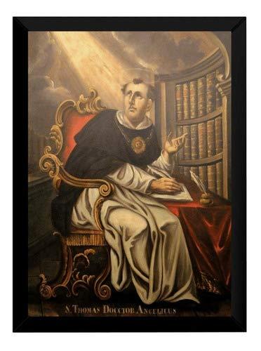 Lindo Quadro Arte Pintura São Tomas De Aquino 42x29cm