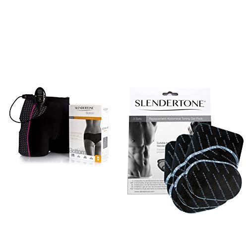 Slendertone Short Bottom Electroestimulador para glúteos Mujer, Negro/Rosa + Paquete Triple de Almohadillas de Repuesto, Unisex, ABS, Negro