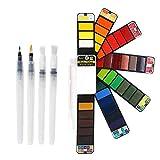 Set di pittura ad acquerello pieghevole 42 colori con 4 pennelli, tavolozza, portatile da viaggio kit per pittura ad acquerello solido, regalo per adulti e bambini artisti forniture per pittura