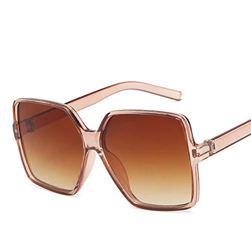 ShZyywrl Gafas De Sol Gafas De Sol Cuadradas Retro De Gran Tamaño para Mujer, Gafas De Sol De Marca De Lujo con Montura Grande, Gafas De Sol Negras con Gradien
