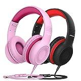 Kinder Kopfhörer, CH6S Kopfhörer für Kinder mit 85dB Lautstärkeregler Schalter Over-Ear Ohrenschützer Faltbar Lebensmittelqualität Material Mikrofon, 2 Pack (pink + Schwarze)
