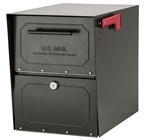 Architectural Mailboxes 6200Z-10 Oasis Classic Locking Post Mount Mailbox, Graphite Bronze