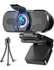 WEBカメラ ウェブカメラ webカメラ HD1080P 200万画素 三脚/盗撮防止カバー付き パソコンカメラ ワイドサイズ対応 自動フォーカス 内蔵マイク ウェブカム skype会議用PCカメラ Windows 10/8 / 7 Mac OS X, Youtube (ブラック)