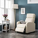 ADHW Adjustable Recliner Leather Lounge Chair Upholstered Sofa Armchair Home/Bedroom (Color : Beige, Size : Wood+amp; Metal)