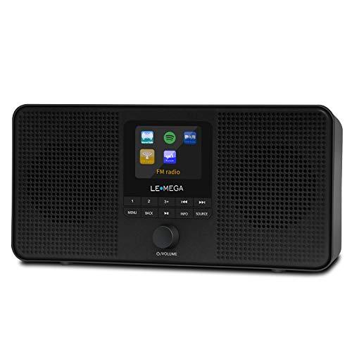 LEMEGA IR4 Stereo mit Internet DAB + & FM Digitalradio mit Wi-Fi, Bluetooth, Wecker, Sleep Timer, 60 Voreinstellungen, TFT-Display und Netzstromversorgung - Schwarz