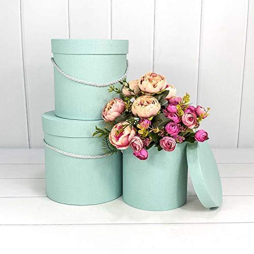 VIPOLIMEX 3er Set runde Blumenboxen mit Kordel, Aufbewahrungsbox mit Deckel, unifarbene Hutschachtel, Geschenkboxen, personalisierbar (hellblau 3er Set)