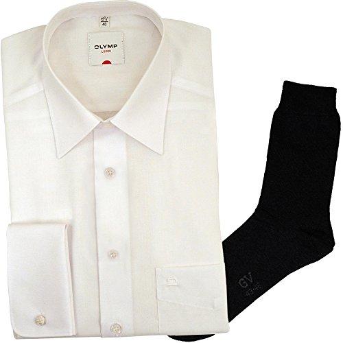 OLYMP Hemd Luxor Comfort Fit - Langarm, Umschlagmanschette, New Kent Kragen, weiß + 1 Paar hochwertige Socken, B&le