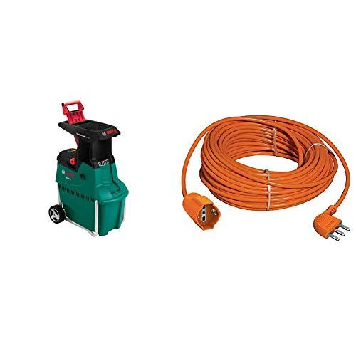 Bosch AXT 25 TC Biotrituratore + BTicino S2533/40 Prolunga per Giardino, Alta Flessibilità, Presa Pluristandard, Arancione, 25