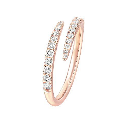 PAVOI 14K Gold Plated Sterling Silver Cubic Zirconia Open Twist Eternity Band Rose Gold for Women Size 6