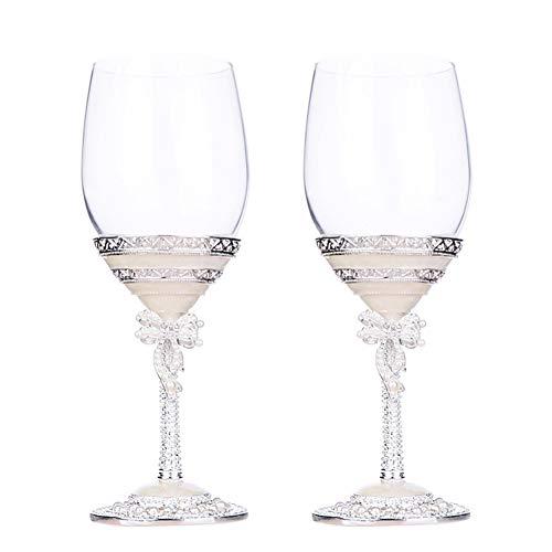 NAXIAOTIAO Champagne Red Wine Glasses Set Finest Titanium Piombo Cristallo Anniversario & Regali di Nozze,2