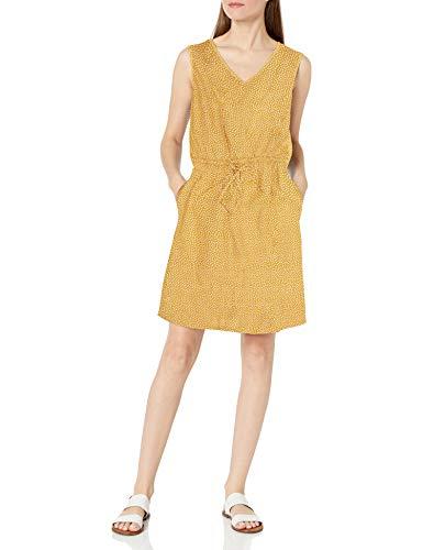 Amazon Essentials Sleeveless Linen Dress Kleid, Senffarbene weiße Punkte, M