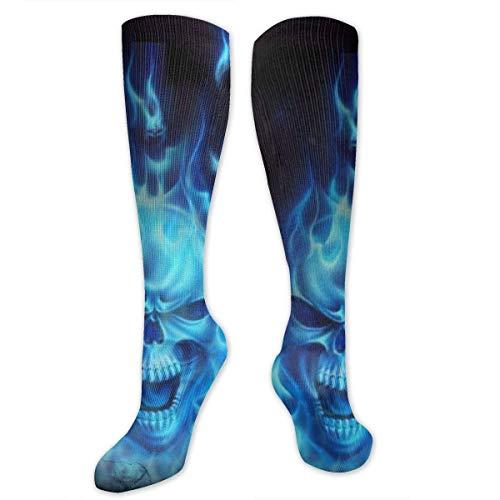 Kniestrümpfe für Herren und Damen, für athletische medizinische Reisestrümpfe (Totenkopf mit blauer Flamme)