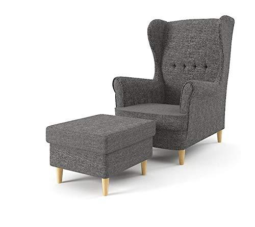 Sofini Ohrensessel Milo mit Hocker! Sessel für Wohnzimmer & Esszimmer! Skandinavisch, Relaxsessel aus Webstoff, Best Sessel! (Lux 06)